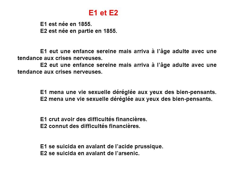 E1 et E2 E1 est née en 1855. E2 est née en partie en 1855.