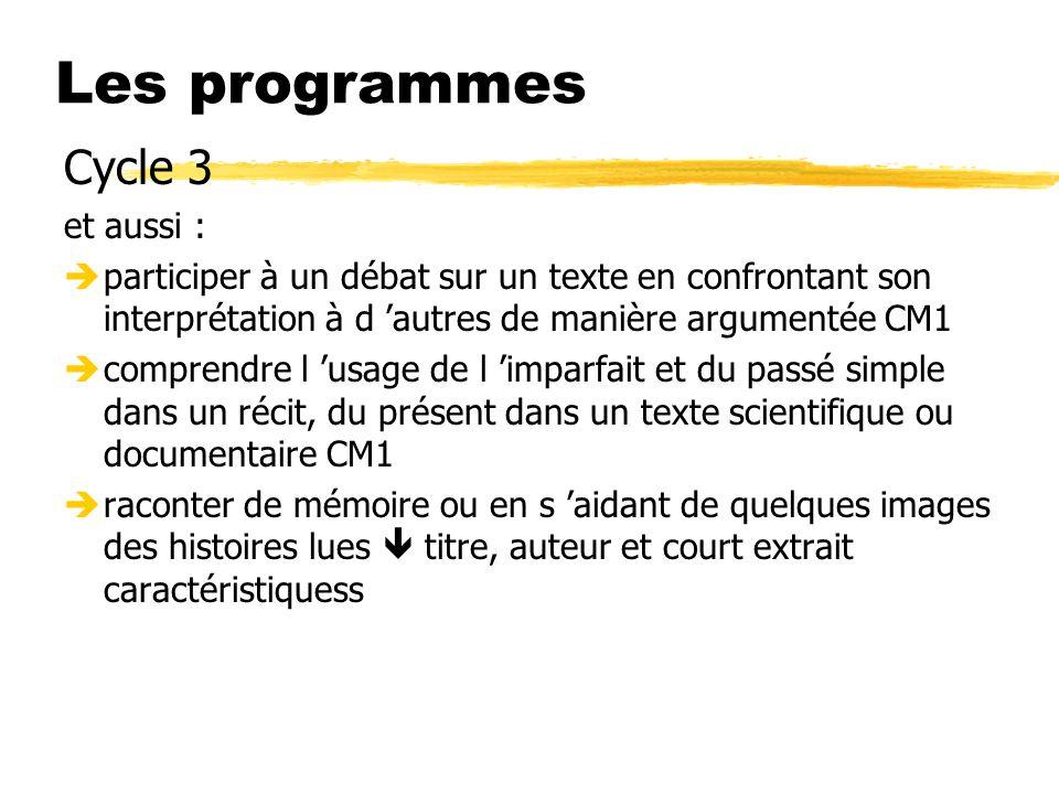 Les programmes Cycle 3 et aussi :