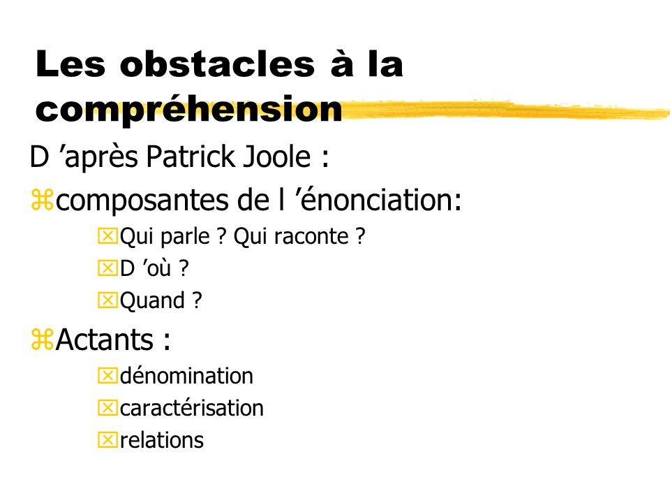 Les obstacles à la compréhension