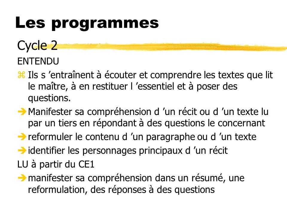 Les programmes Cycle 2 ENTENDU