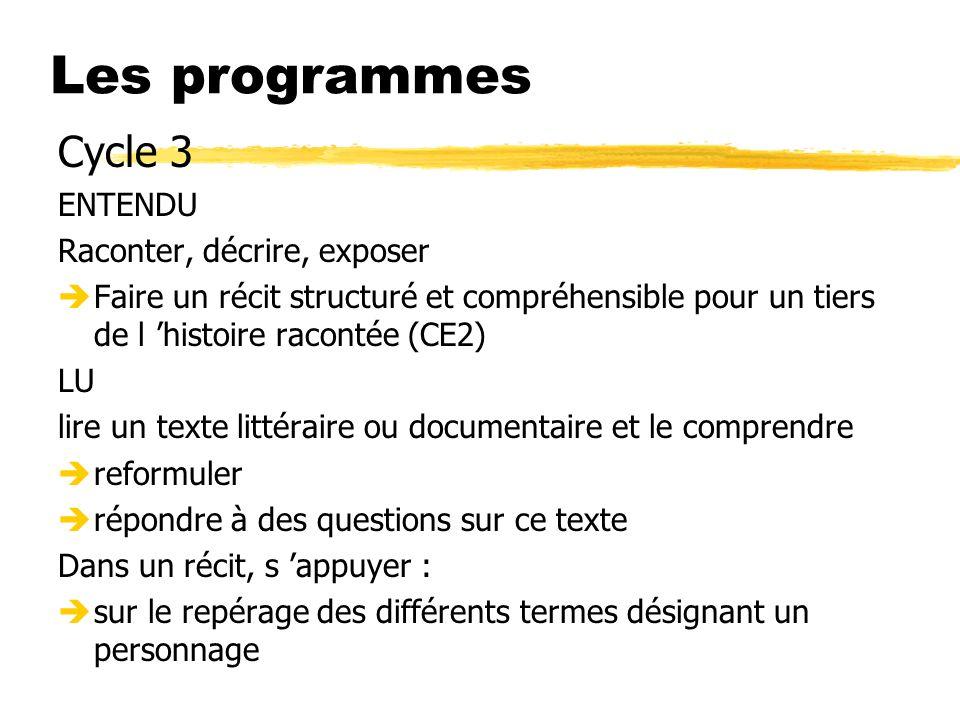 Les programmes Cycle 3 ENTENDU Raconter, décrire, exposer