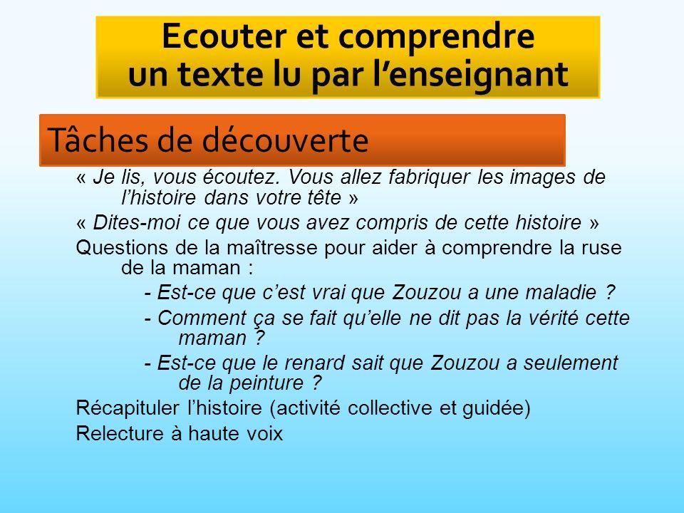 Ecouter et comprendre un texte lu par l'enseignant