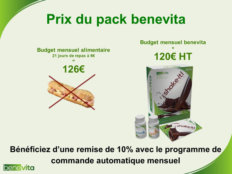 Prix du pack benevita 120€ HT 126€