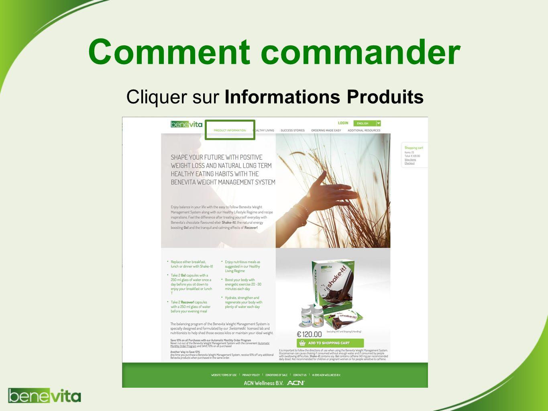 Cliquer sur Informations Produits