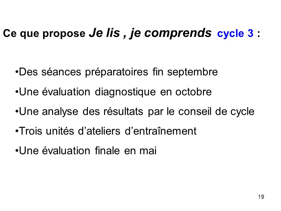 Ce que propose Je lis , je comprends cycle 3 :