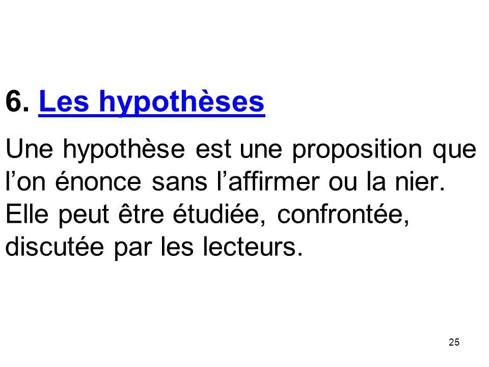 6. Les hypothèses Une hypothèse est une proposition que l'on énonce sans l'affirmer ou la nier.