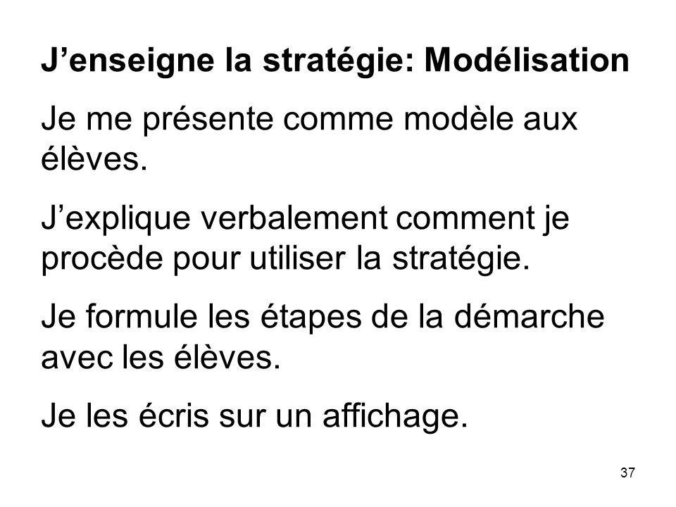 J'enseigne la stratégie: Modélisation Je me présente comme modèle aux élèves.