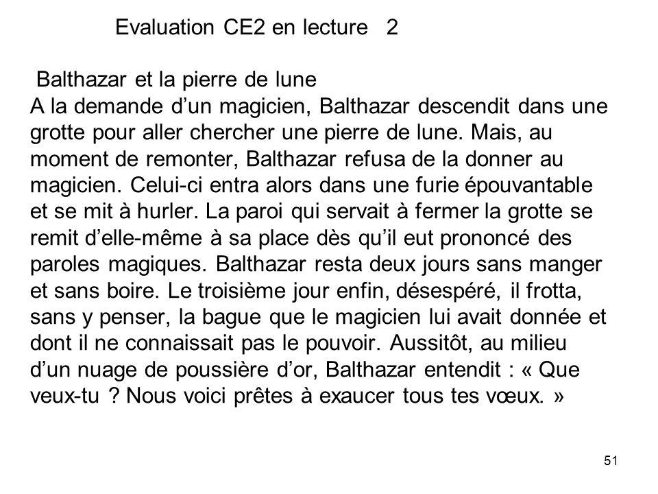 Evaluation CE2 en lecture 2 Balthazar et la pierre de lune A la demande d'un magicien, Balthazar descendit dans une grotte pour aller chercher une pierre de lune.