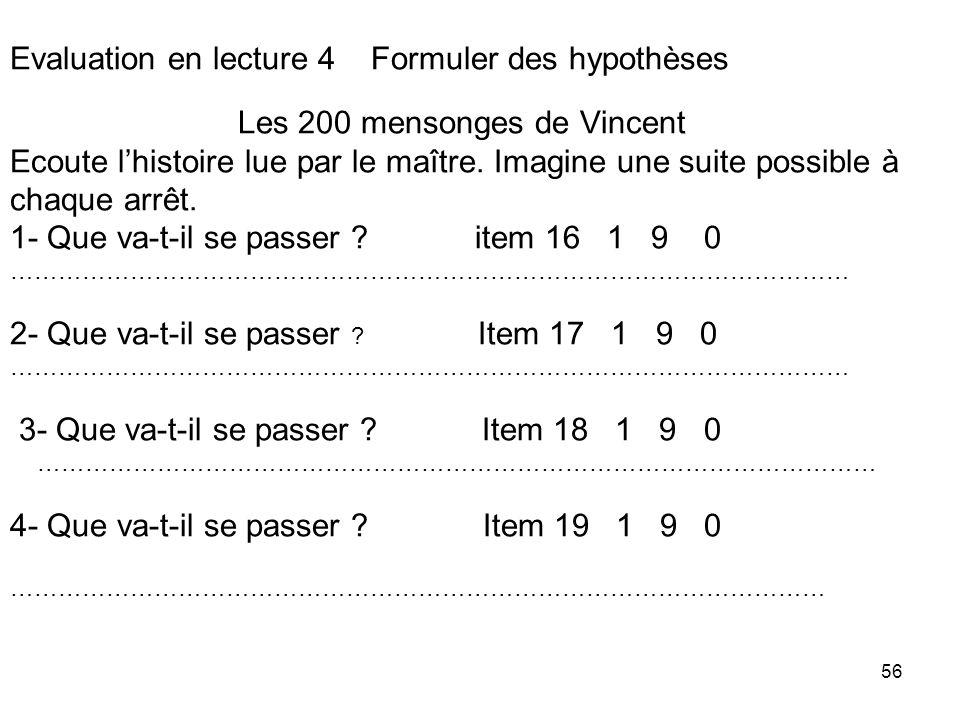 Evaluation en lecture 4 Formuler des hypothèses Les 200 mensonges de Vincent Ecoute l'histoire lue par le maître.
