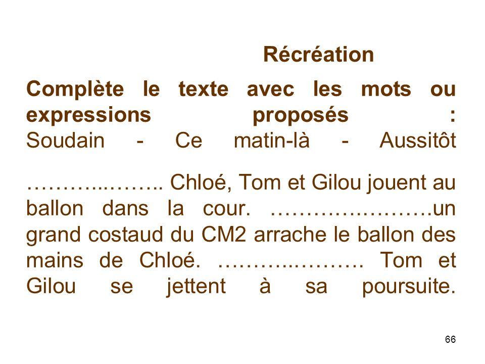 Récréation Complète le texte avec les mots ou expressions proposés : Soudain - Ce matin-là - Aussitôt ………...……..
