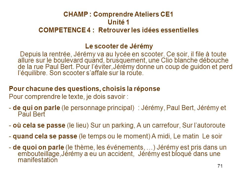 CHAMP : Comprendre Ateliers CE1 Unité 1 COMPETENCE 4 : Retrouver les idées essentielles
