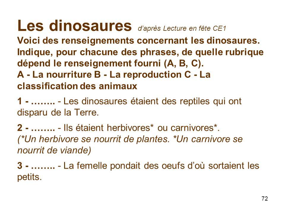 Les dinosaures d'après Lecture en fête CE1 Voici des renseignements concernant les dinosaures.