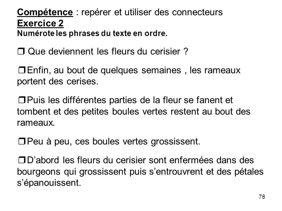 Compétence : repérer et utiliser des connecteurs Exercice 2 Numérote les phrases du texte en ordre.