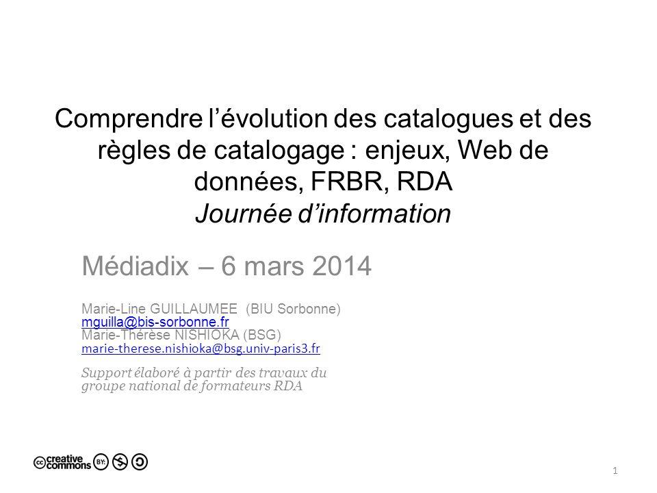 Comprendre l'évolution des catalogues et des règles de catalogage : enjeux, Web de données, FRBR, RDA Journée d'information