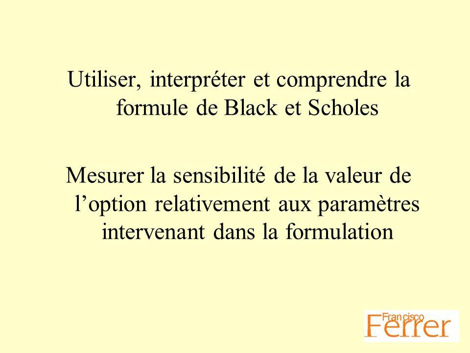 Utiliser, interpréter et comprendre la formule de Black et Scholes