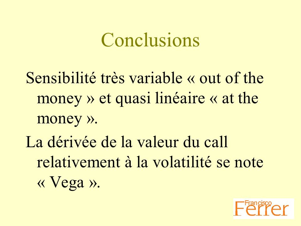 Conclusions Sensibilité très variable « out of the money » et quasi linéaire « at the money ».
