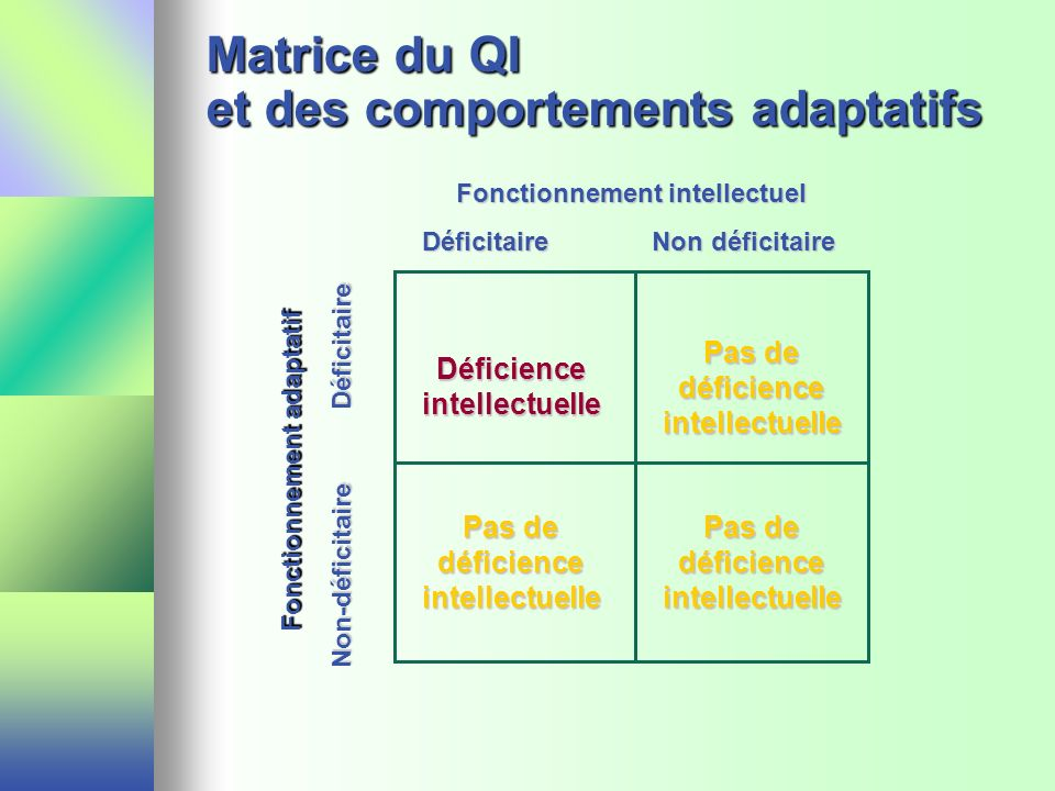 Matrice du QI et des comportements adaptatifs