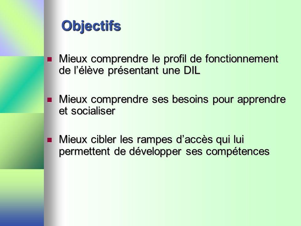 Objectifs Mieux comprendre le profil de fonctionnement de l'élève présentant une DIL. Mieux comprendre ses besoins pour apprendre et socialiser.