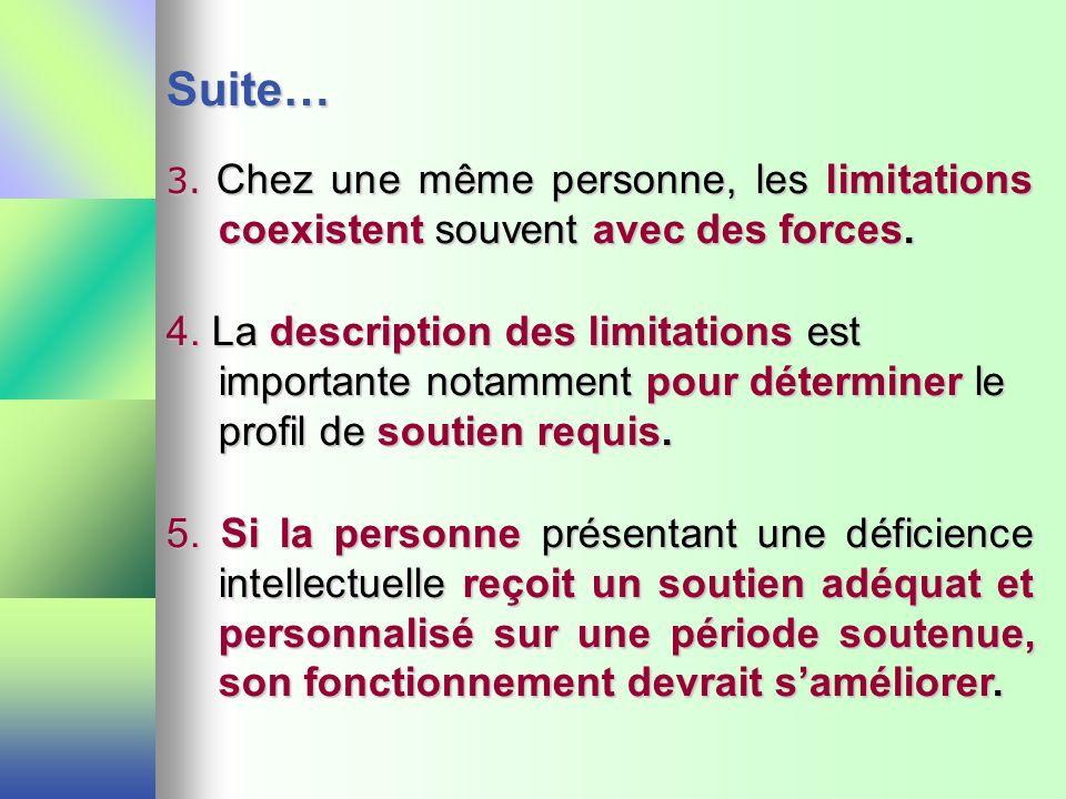 Suite… 3. Chez une même personne, les limitations coexistent souvent avec des forces.