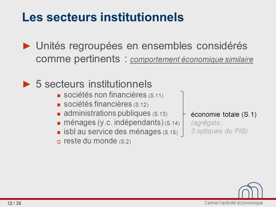 Les secteurs institutionnels