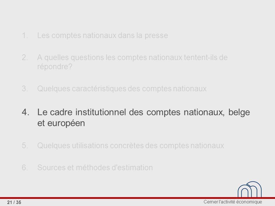 4. Le cadre institutionnel des comptes nationaux, belge et européen