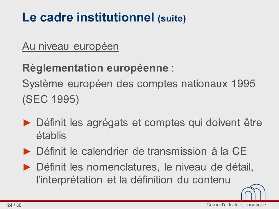 Le cadre institutionnel (suite)