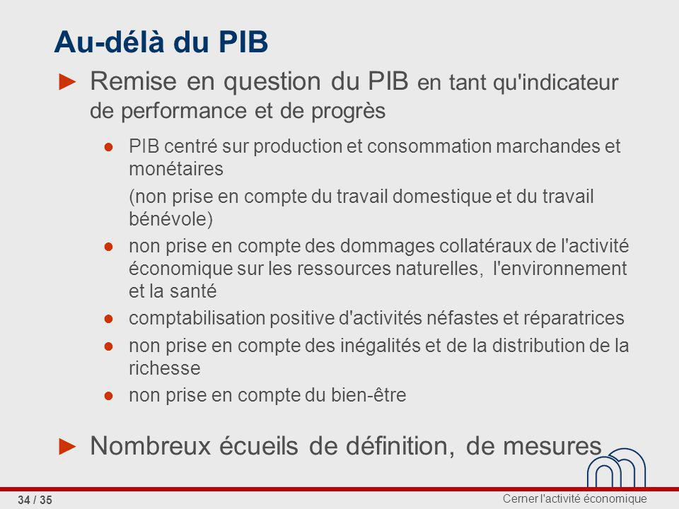 Au-délà du PIB Remise en question du PIB en tant qu indicateur de performance et de progrès.