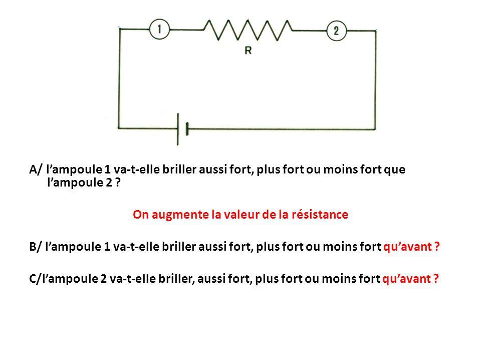 A/ l'ampoule 1 va-t-elle briller aussi fort, plus fort ou moins fort que l'ampoule 2 .