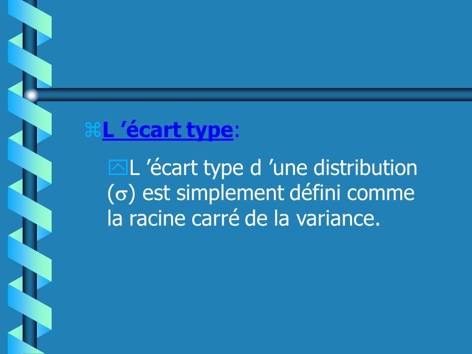 L 'écart type: L 'écart type d 'une distribution () est simplement défini comme la racine carré de la variance.