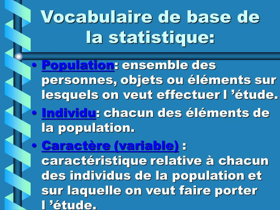 Vocabulaire de base de la statistique: