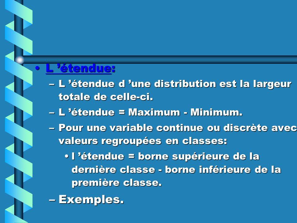 L 'étendue: L 'étendue d 'une distribution est la largeur totale de celle-ci. L 'étendue = Maximum - Minimum.