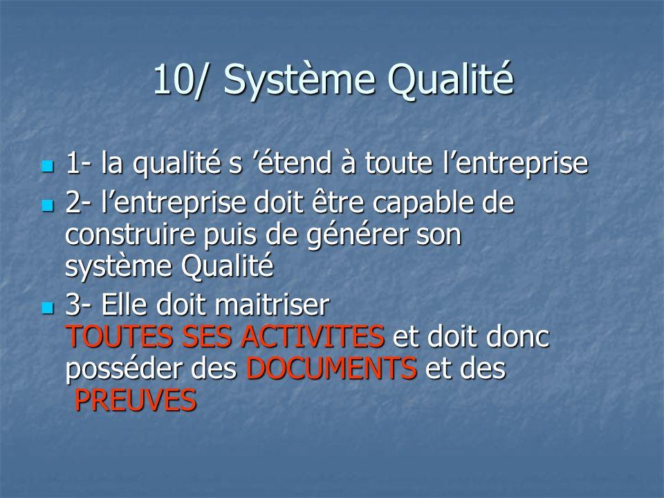10/ Système Qualité 1- la qualité s 'étend à toute l'entreprise
