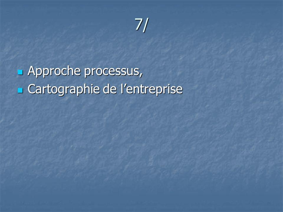 7/ Approche processus, Cartographie de l'entreprise