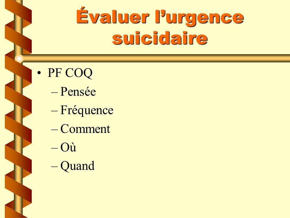 Évaluer l'urgence suicidaire
