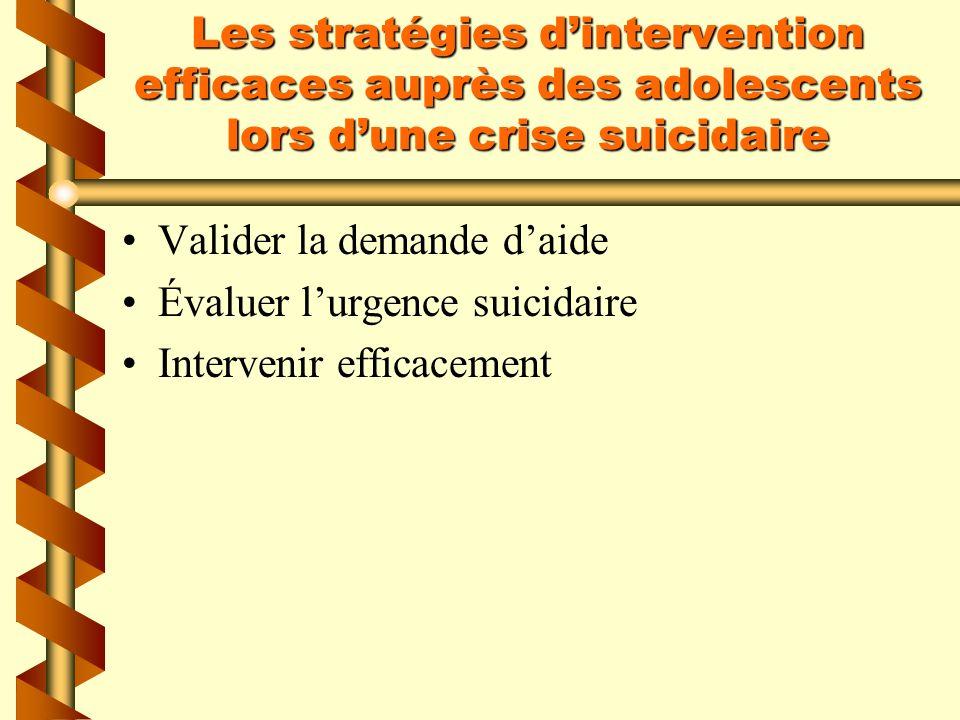 Les stratégies d'intervention efficaces auprès des adolescents lors d'une crise suicidaire