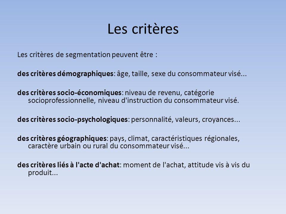 Les critères Les critères de segmentation peuvent être :
