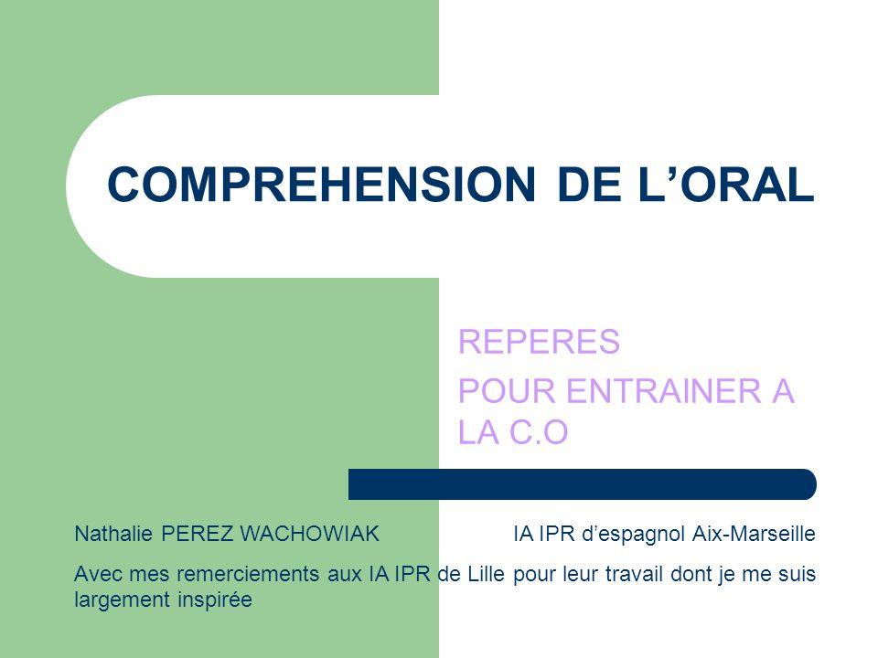 COMPREHENSION DE L'ORAL