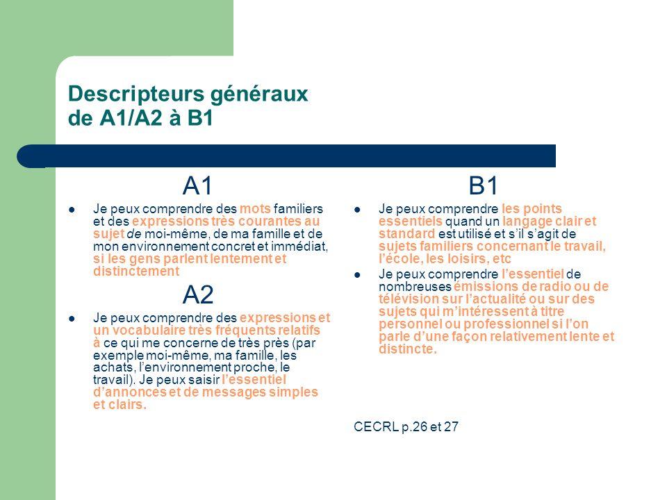 Descripteurs généraux de A1/A2 à B1