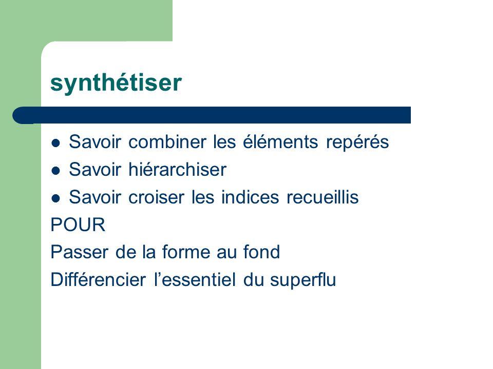 synthétiser Savoir combiner les éléments repérés Savoir hiérarchiser