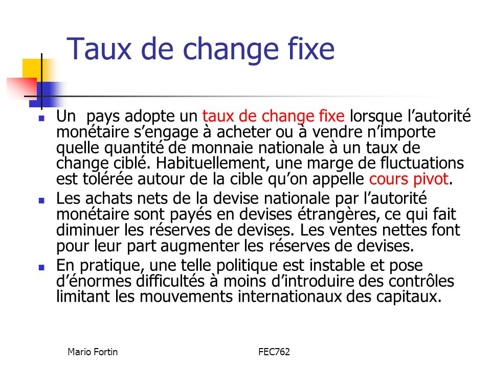Taux de change fixe