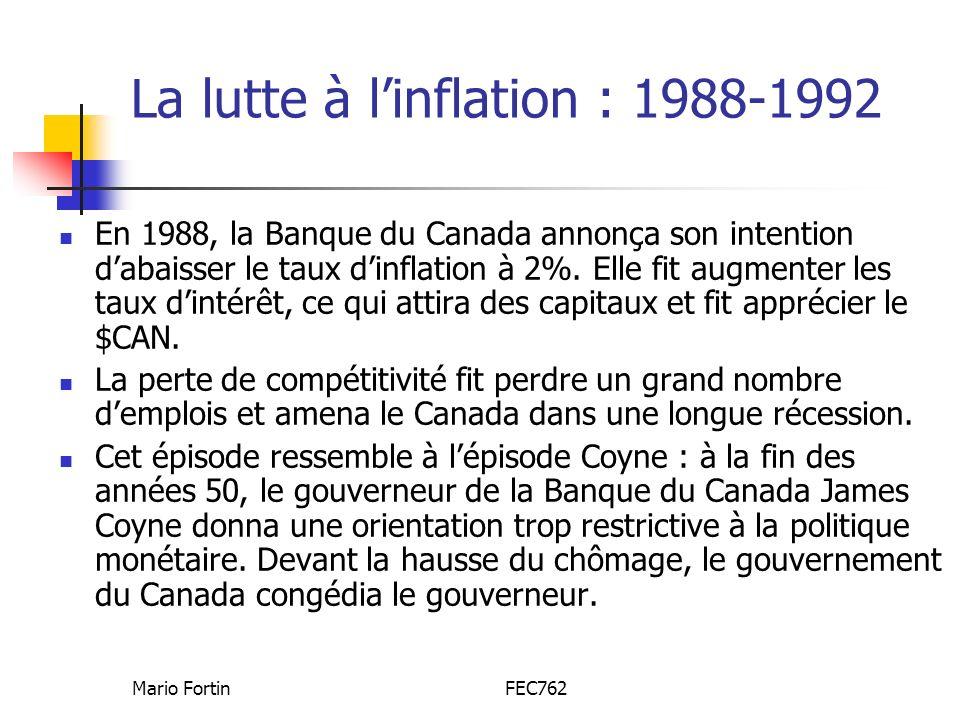 La lutte à l'inflation : 1988-1992
