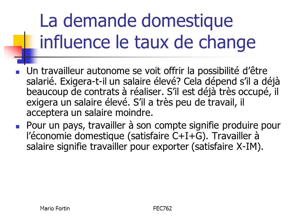 La demande domestique influence le taux de change