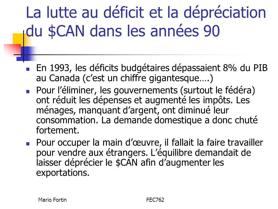 La lutte au déficit et la dépréciation du $CAN dans les années 90