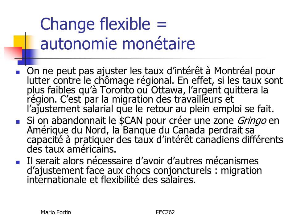 Change flexible = autonomie monétaire