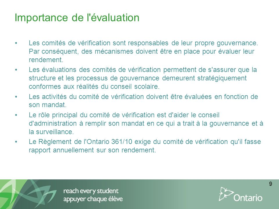 Importance de l évaluation