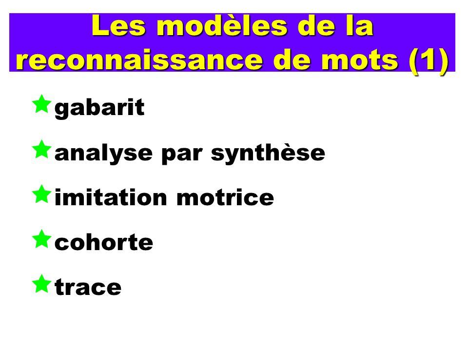 Les modèles de la reconnaissance de mots (1)