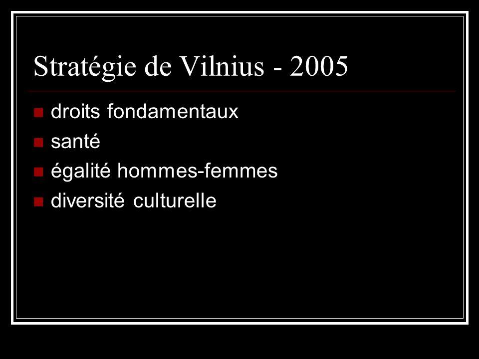 Stratégie de Vilnius - 2005 droits fondamentaux santé