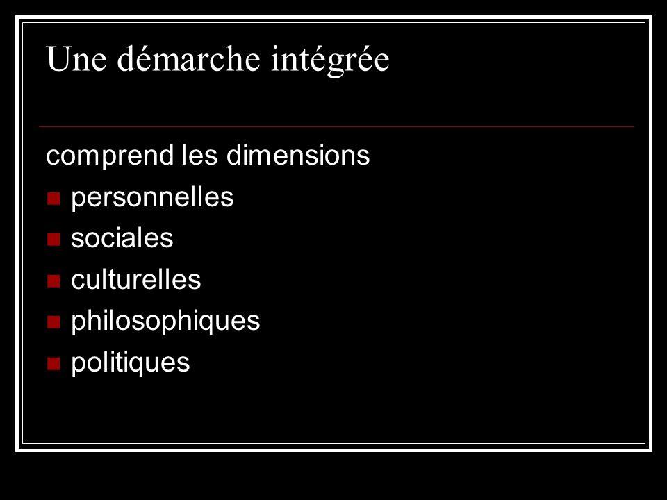 Une démarche intégrée comprend les dimensions personnelles sociales
