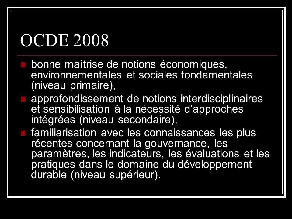 OCDE 2008 bonne maîtrise de notions économiques, environnementales et sociales fondamentales (niveau primaire),