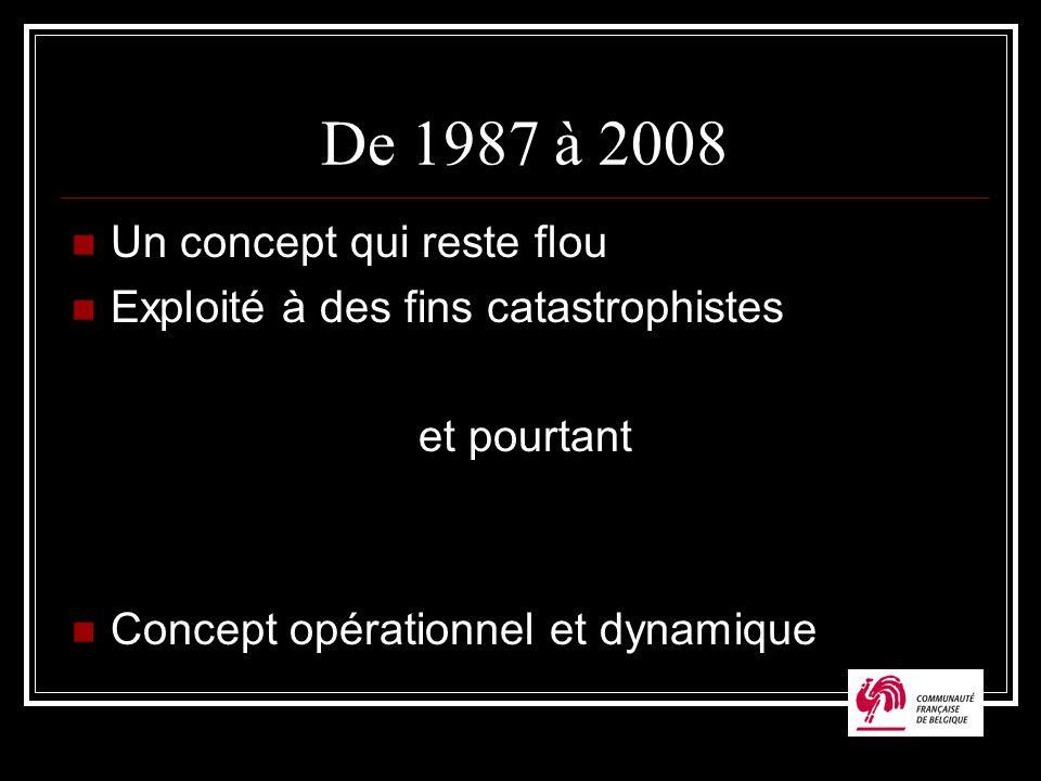 De 1987 à 2008 Un concept qui reste flou